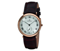 1276.5568 Schweizer Uhr mit Quarz Silber Zifferblatt Analog-Anzeige und braunem Lederband
