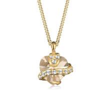 Halskette mit Herz-Anhänger 925 Sterling Silber mit Kristallen von Swarovski vergoldet Länge 45cm 0110471912_45