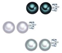 Set: 3 Paar Ohrstecker Hochwertige Süßwasser-Zuchtperlen in ca. 7 mm Button hellgrau blau 925 Sterling Silber - Perlenohrstecker mit echten Perlen grau dunkelblau 60200121