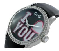 D&G Dolce&Gabbana Analog Quarz Uhr mit Leder Armband DW0146