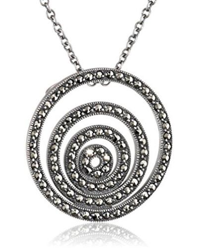 Collier 925 Silber vintage-oxidized Markasit 47 cm