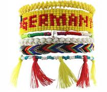 Armband Messing rhodiniert Stoff 19 cm mehrfarbig 03613