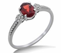 Verlobungsring 9 Karat (375) Weißgold Granat Diamant Pavéfassung SA9029R