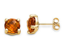 Ohrstecker Ohrringe 9 Karat ( 375 ) Citrine Quartz 4.0 ct Gelbgold Quarz orange Rundschliff - MNA9040E