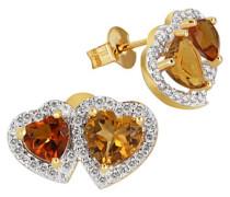 Ohrstecker zwei Herzen 585 Gelbgold 1 gelber 1 orangener Citrin 76 Diamanten SI/H 0