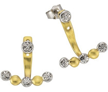 Ohrstecker 925 Sterling Silber teilvergoldet Diamant 0.01 ct weiß Rundschliff 316220002