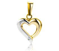 Anhänger mit Herz Bicolor Gelbgold/Weißgold 9 Karat/375 Gold Diamant Brilliant
