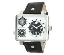 Metropolitain Kingsize Collection Quarz Armbanduhr mit zwei Zeitzonen und eckigem Gehäuse - Analoge Anzeige - Kompass - Lederarmband Gehäuse aus Edelstahl Größe XL - OZG1135