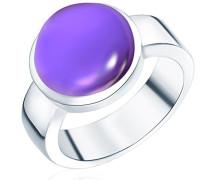 Ring 925 Silber rhodiniert Zirkonia Rundschliff lila