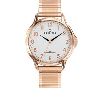 – 617020 – Armbanduhr – Quarz Analog – Weißes Ziffernblatt – Armband Stahl Rosa