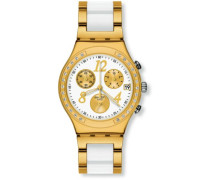 Armbanduhr Irony Chrono Chronograph verschiedene Materialien DreamWhite Yellow YCG407G