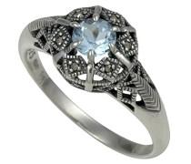 Ring 925 Silber vintage-oxidized Topas blau Markasit 56 (17.8) - L0015R/90/W4/56
