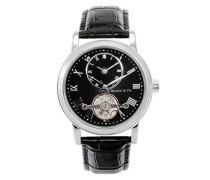 Armbanduhr Automatik Analog Leder Schwarz - B15H9