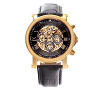 Automatik Armbanduhr von für Männer mit einem echten Diamanten mit Schwarzem Zifferblatt Analoger Anzeige und Schwarzem Armband aus Leder SK14H042