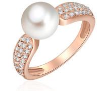 Ring rosevergoldet 925 Silber teilvergoldet Zirkonia weiß Perle Süßwasser-Zuchtperle Creme