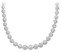 Halskette 18 ct Weiß Gold Spektakuläre Halo Set 7.50 ct Diamanten G/SI1 Single Strand Halskettevon 46 cm PNE0199418KW