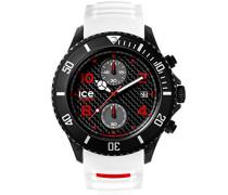 ICE carbon White Black - Weiße Herrenuhr mit Silikonarmband - Chrono - 001315 (Extra Large)