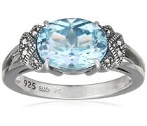 Ring 925 Silber vintage-oxidized Topas blau Markasit 50 (15.9) - L0039R/90/W4/50