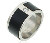 unisex Stainless Steel Ring Leder mit Zirkonia