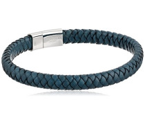 Armband Cobra Italienisches Leder mit Blau Farbe Verschluss und Sterling Silber