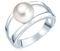 Ring Hochwertige Süßwasser-Zuchtperlen in ca. 8 mm Button weiß 925 Sterling Silber - Perlenring mit echten Perle weiss 60201414