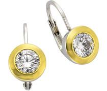 Celesta Silber Ohrhänger 925 Sterling Silber teilvergoldet Zirkonia weiß Rundschliff 1.5 cm 273230204-1