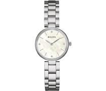 Diamond 96S159 - Designer-Armbanduhr - Edelstahl - Weiß