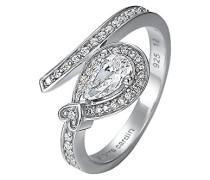 Ring 925 Sterling Silber rhodiniert Glas Zirkonia L'Esthétisme Unique Weiß