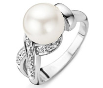 Ring 925 Silber rhodiniert Zirkonia weiß Rundschliff Synthetische Perle Creme