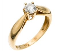 Ring 18 Karat Gold 1 Diamant 0.40 Carat RD-33063/56