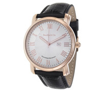 Quartz Armbanduhr von für Männer mit Original Schweizer Uhrwerk mit Weißem Zifferblatt Analoger Anzeige und Schwarzem Armband aus Leder Datumsanzeige BC15SA4