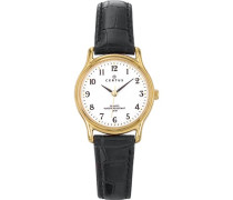 – 646232 Armbanduhr – Quarz Analog – Weißes Ziffernblatt – Armband Leder Schwarz