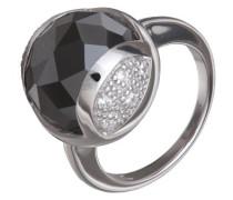 Ring 925 Sterling Silber rhodiniert Zirkonia schwarz