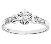 Damen-Ring 9 K 375 Weißgold 6 Diamant