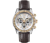 Chronograph Quarz Uhr mit Leder Armband X51005G1S