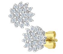 Ohrstecker 9 Karat Cluster Ohrringe 375 Gelbgold teilrhodiniert Diamant (0