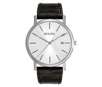 Classic 96B104 - Designer-Armbanduhr aus Stahl - Armband aus Leder - Elegantes Design - Schwarz