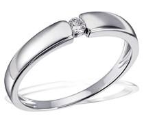 Ring Solitär Verlobungsring 925 Silber rhodiniert Diamant (0.07 ct) Brillantschliff weiß