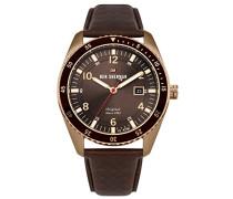 Analog Quarz Uhr mit Leder Armband WBS107TRG