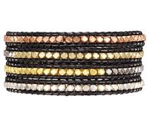 Armband Leather Collection Leder schwarz Metallbeads mehrfarbig 60831001