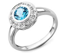 Ring 585 Weißgold mit Blau Topas und 14 Brillanten 0