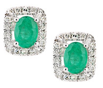 Ohrringe 9 K 375 Weißgold Émeraude grün DE1611WEM