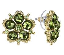 Gold Tone Grün Kristall Blume Schaltfläche Ohrringe