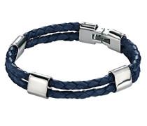 Herren Armband Edelstahl Leder 21.5 cm blau B4213