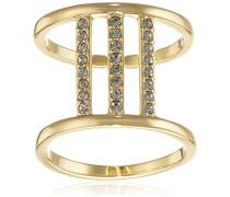 Ring Spring Vergoldet teilvergoldet Kristall schwarz Rundschliff