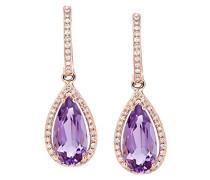Ohrringe 9 Karat 375 Roségold Tropfenschliff lila Améthyste Diamant DE1683RAM