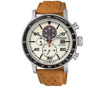 Chronograph Quarz Uhr mit Leder Armband CA0641-16X