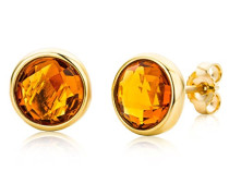 Ohrstecker Ohrringe 9 Karat ( 375 ) Citrine Quartz 2.0 ct Gelbgold Quarz orange Rundschliff - MNA9043E