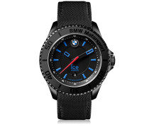 BMW Motorsport (steel) Black - Schwarze Herrenuhr mit Lederarmband - 001111 (Medium)