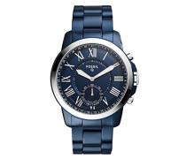 Hybrid Smartwatch Q Grant - Edelstahl - Blau – Analoge Quarz Herrenuhr im klassischen & eleganten Stil mit Smartfunktionen – Für Android & iOS